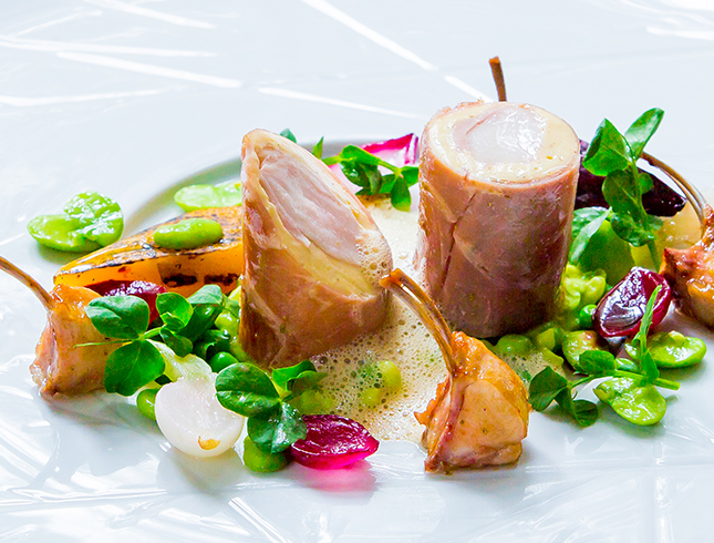 Loin of Rabbit wrapped in parma ham with pea mint risotto 1