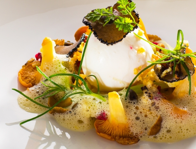 Katie Machin poached free range egg with summer truffle chanterelle mushrooms and pickled caulifower 1460x657 acf cropped 645x490 acf cropped