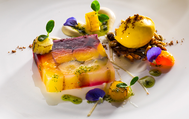 Terrine of heritage carrots with star anise ice cream